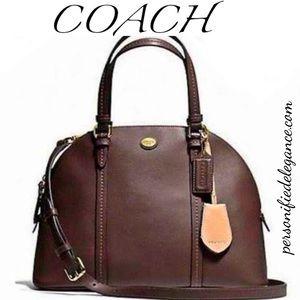 Coach Peyton Cora Brown Leather Domed Handbag